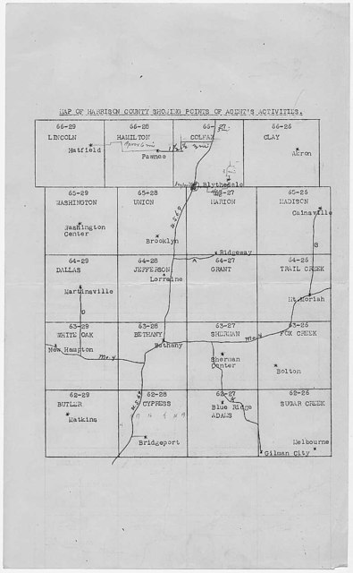 Map of Harrison County [Missouri] Showing Points of Agent's Activities