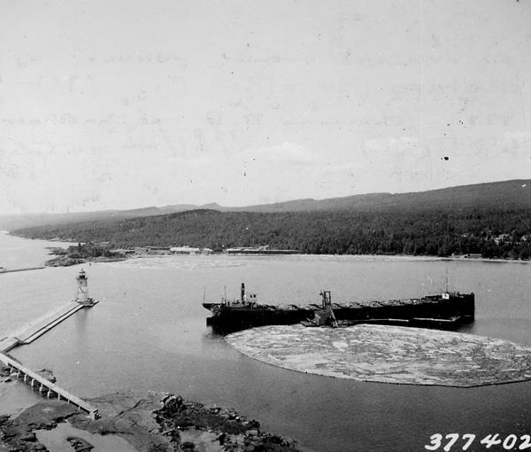 Photograph of Boat Landing at Harbor in Grand Marais, Minnesota
