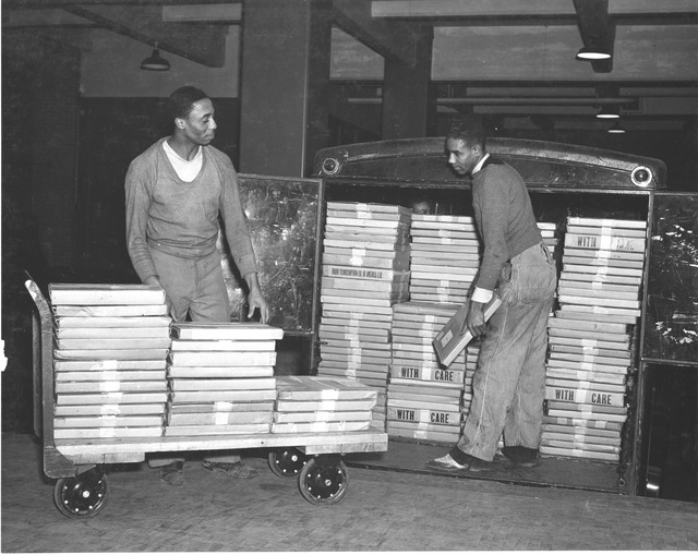 Photograph of the First Large Shipment of Sound Recordings Received from the Works Progress Administration (WPA)
