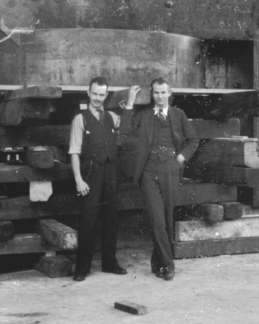 60-inch cyclotron with Franz N.D. Kurie and Edwin McMillan. Cooksey 4-34,  April 1, 1938. [Photographer: Donald Cooksey]