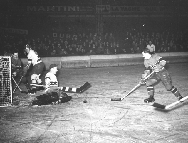 Photograph of the Montreal Canadiens Playing the Detroit Red Wings