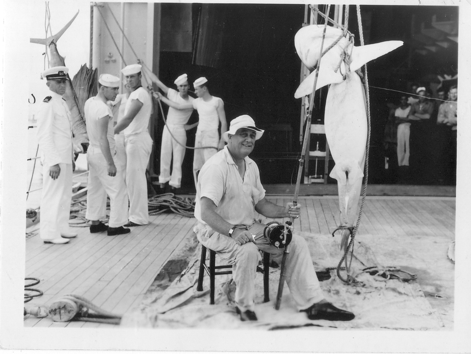 President Franklin D. Roosevelt with a Shark he Caught on a Cruise on the USS Houston