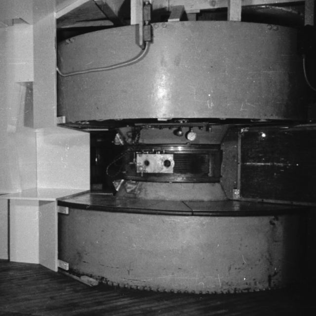 The 37-inch cyclotron accelerated deuterons to 8 MeV and alpha particles to 16 MeV. It was also used to create radio isotopes and the first artificial element, technetium. This cyclotron was  used in one of the first attempts to treat cancer. Cooksey  label: Cancer Room, note proton snout. Cooksey 1-10, September 20, 1938. [Photographer: Donald Cooksey]