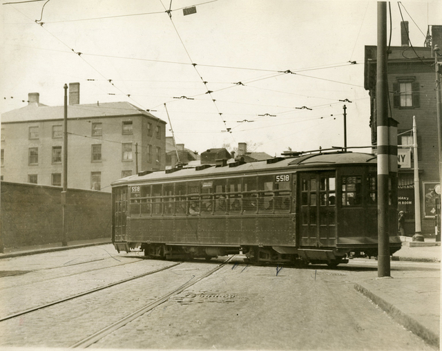 Trolley Turning onto Bunker Hill Street from Chelsea Street