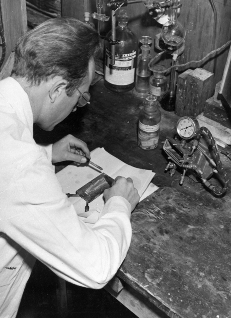 Joseph Gilbert Hamilton with radiosodium experiment equipment. January 1939. See also XBB 6808-4755(FMP record missing). [Photographer: Donald Cooksey]