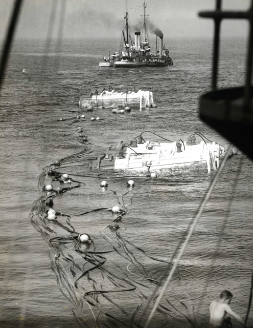 Raising of the Pontoons Attached to the Stern of the USS Squalus