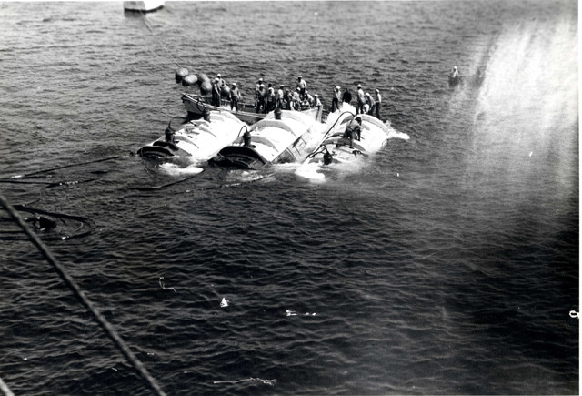 View from the USS Sculpin of the Raising of the Pontoons Attached to the Bow of the USS Squalus