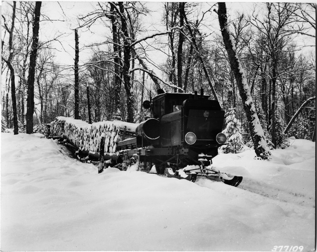 Brown Company Lombard Tractor Hauling Four Sled Loads of Pulpwood in Magalloway Township, Maine
