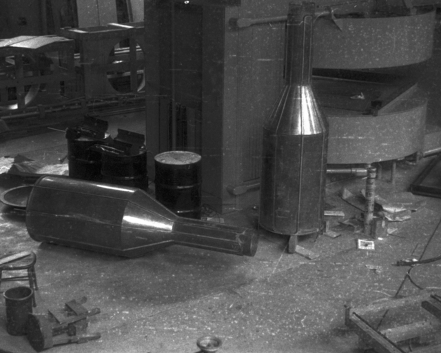 60-inch cyclotron magnet at right with associated equipment. Cooksey  13-40,  Feburary 6, 1939. [Photographer: Donald Cooksey]