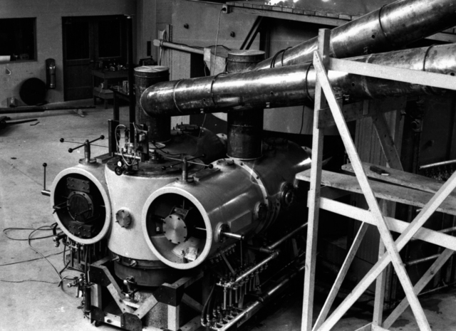 Rear view of 60-inch cyclotron in early stages showing the fastest high-vacuum pump in the world, taken March 20, 1939. Principal Investigator/Project: Analog Conversion Project [Photographer: Donald Cooksey]