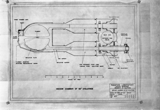 Schematic of vacuum chamber of 60-inch cyclotron, taken by Donald Cooksey October 2, 1939. Morgue 1944-53 (P-2) [Photographer: Donald Cooksey]