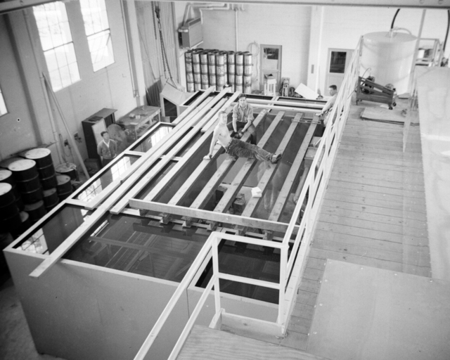 Workmen and 60-inch cyclotron water tanks with steel beams for water roof. October 6, 1939. Cooksey 65 [Photographer: Donald Cooksey]