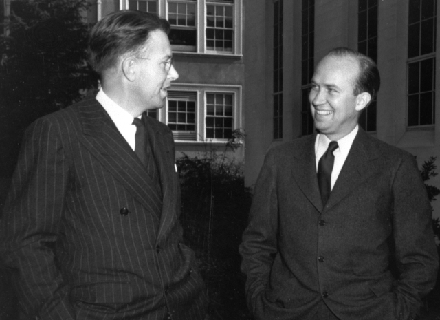 Ernest Orlando Lawrence (left) and John H. Lawrence. Photo taken November 10, 1939. Principal Investigator/Project: Analog Conversion Project [Photographer: Donald Cooksey]
