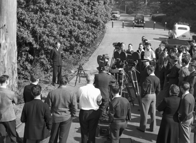 Filming of Ernest Orlando Lawrence giving Nobel Prize talk. Photo taken November 10, 1939. Principal Investigator/Project: Analog Conversion Project [Photographer: Donald Cooksey]