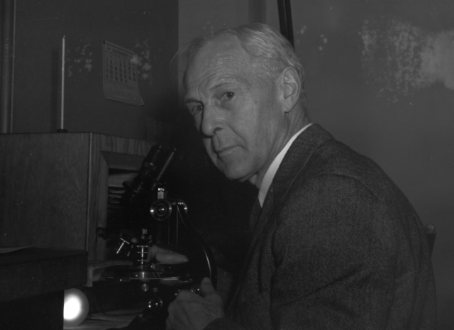Dr. Warren H. Lewis, taken November 11, 1939. Damaged negative  Principal Investigator/Project: Analog Conversion Project [Photographer: Donald Cooksey]