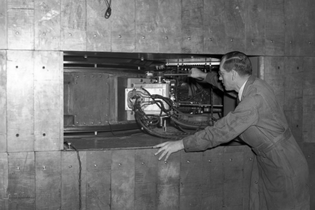 60-inch cyclotron. 2-inch lead wall, medical physics with Bernard Harvey. November 13 1939. [Photographer: Donald Cooksey]