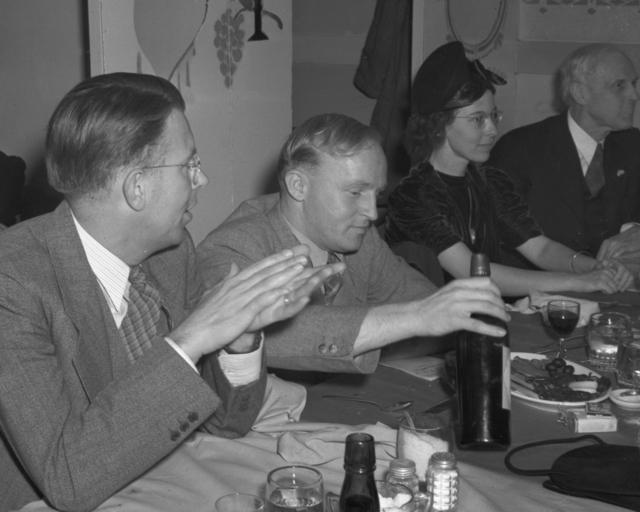 DiBiasi Restaurantdinner. Ernest Orlando Lawrence (left) and Harold Walke, taken November 17, 1939. Radiation Lab dinner in honor of Ernest Orlando Lawrence for winning the Nobel Prize. Principal Investigator/Project: Analog Conversion Project [Photographer: Donald Cooksey]
