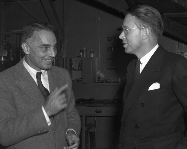 Ernest Orlando Lawrence (right) and Alfred Loomis, taken November 22, 1939. Principal Investigator/Project: Analog Conversion Project [Photographer: Donald Cooksey]