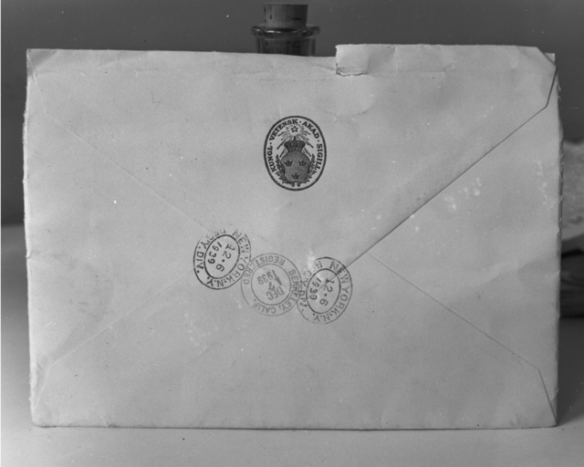 Back of Ernest Orlando Lawrence's Nobel Prize notification envelope, taken December 7, 1939. See also XBD201006-00924.tif for envelope front. Principal Investigator/Project: Analog Conversion Project [Photographer: Donald Cooksey]