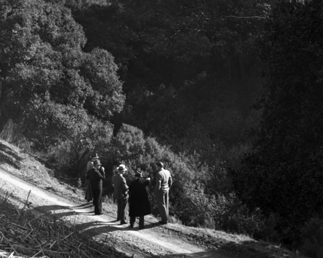 A group walking down path overlooking Strawberry Canyon, taken December 13, 1939. Ernest Orlando Lawrence far right. Principal Investigator/Project: Analog Conversion Project [Photographer: Donald Cooksey]