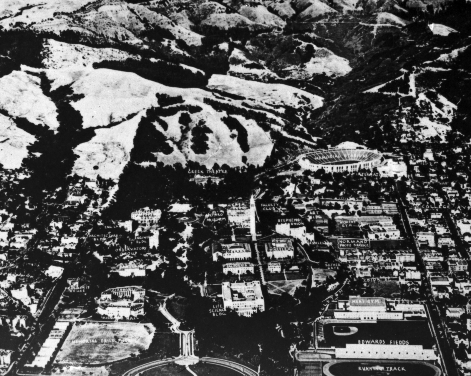 Aerial view of the site of the future Radiation Laboratory