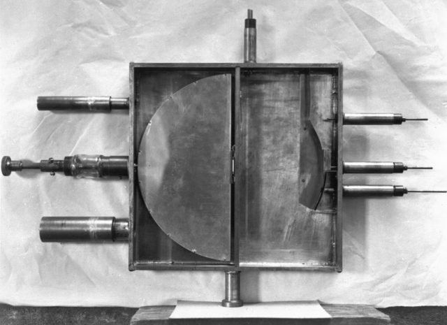 Fourth cyclotron. 1 1/4 MEV Protons. View of the 11-inch cyclotron with something added, taken February 1, 1940. Principal Investigator/Project: Analog Conversion Project [Photographer: Donald Cooksey]