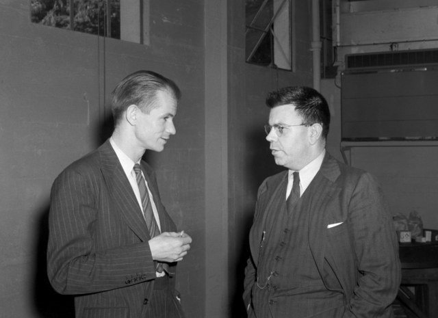 Dr. Edwin McMillan with Edwin W. Condon (right) , co-director of Westinghouse Labs, taken February 8,1940. Principal Investigator/Project: Analog Conversion Project [Photographer: Donald Cooksey]