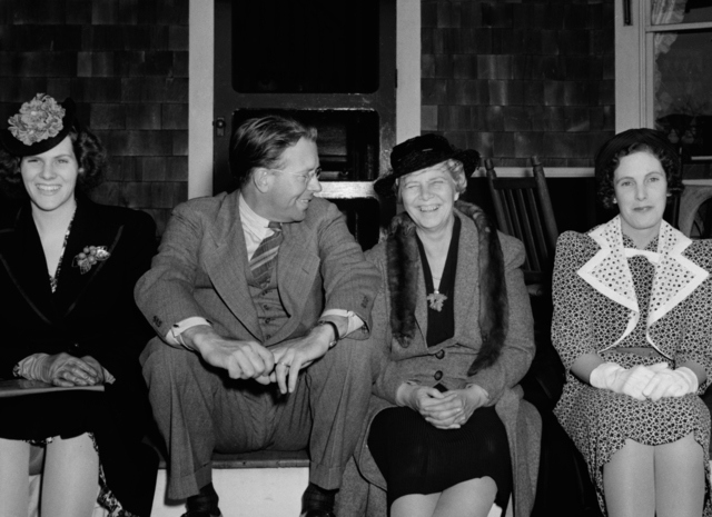 Left to right: Bert, Ernest Orlando Lawrence, Mable, and Elsie Blumer, taken May 5, 1940. Principal Investigator/Project: Analog Conversion Project [Photographer: Donald Cooksey]