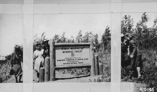 Photograph of Women from the Minnesota Federation of Women's Clubs Visiting the Sign for the George Washington Memorial Forest