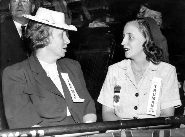 Photograph of Bess and Margaret Truman at the Democratic Convention