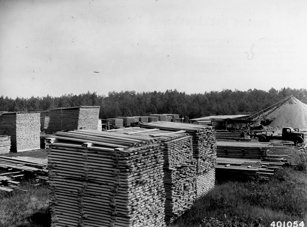 Photograph of Jack and Red Pine Lumber Piled for Air Drying