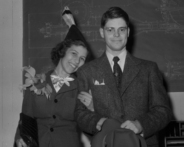 Robert Rathbun Wilson with wife, Jane Inez Scheyer, taken August 21, 1940. Principal Investigator/Project: Analog Conversion Project [Photographer: Donald Cooksey]