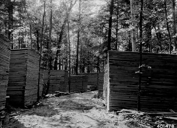 Photograph of Rough Sawn Hardwood Lumber Piled for Air Drying