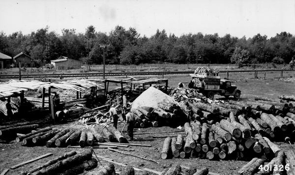 Photograph of the Charles Merrill Tie Mill at Irons, Michigan