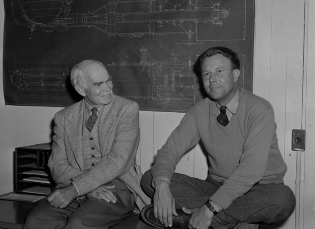 Lee De Forest, inventor (left) with Ernest Orlando Lawrence, taken September 8, 1940. Principal Investigator/Project: Analog Conversion Project [Photographer: Donald Cooksey]