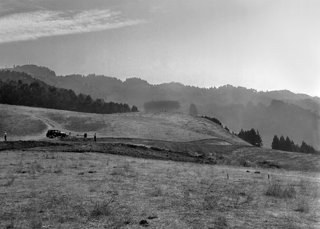 Left side of panorama of the pastoral view of the future construction site for the 184-inch cyclotron. Photo taken September 10, 1940. Principal Investigator/Project: Analog Conversion Project [Photographer: Donald Cooksey]