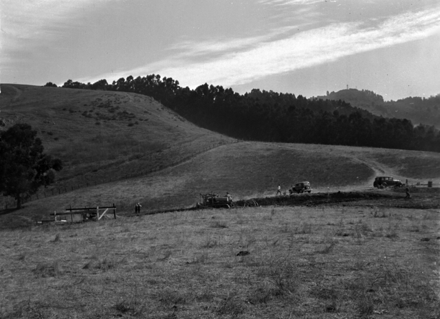 Right side of panorama of the pastoral view of the future construction site for the 184-inch cyclotron. Photo taken September 10, 1940. Principal Investigator/Project: Analog Conversion Project [Photographer: Donald Cooksey]