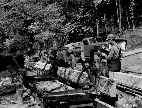 Photograph of Sawing a White Oak Log on the Portable Sawmill on the William Arbaugh Logging Operation