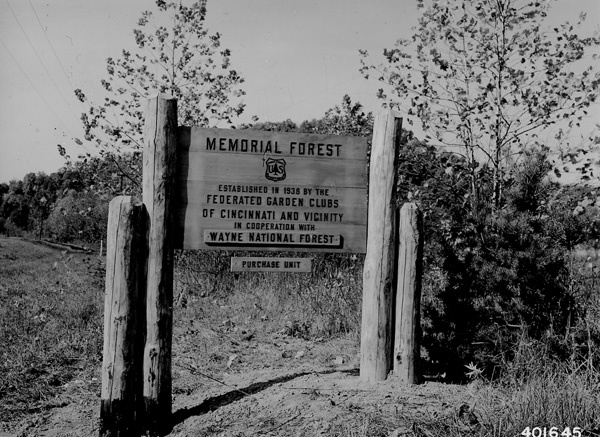Photograph of Sign Marking the Location of 38 Acre Memorial Forest of the Federated Garden Clubs of Cincinnati