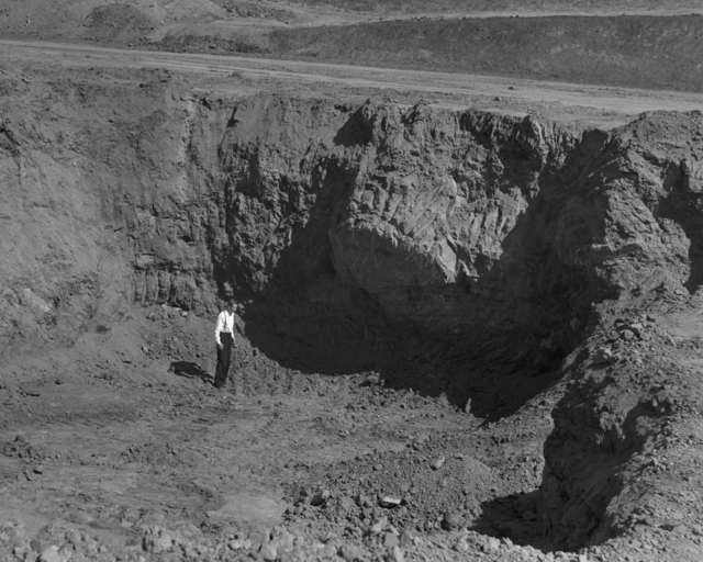 184-inch magnet site excavation with Robert Cornog, taken October 2, 1940. Principal Investigator/Project: Analog Conversion Project [Photographer: Donald Cooksey]