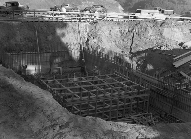 184-inch magnet foundation forms, taken October 10, 1940. Principal Investigator/Project: Analog Conversion Project [Photographer: Donald Cooksey]