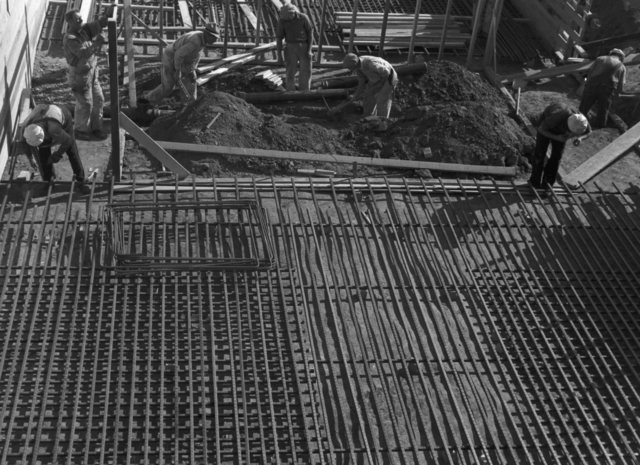 184-inch magnet foundation reinforcing steel bed, taken October 10, 1940. Principal Investigator/Project: Analog Conversion Project [Photographer: Donald Cooksey]