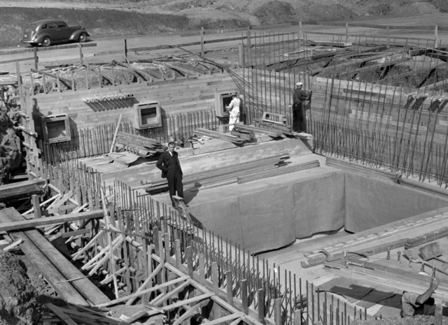 Edwin McMillan on 184-inch magnet foundation forms. Taken October 16, 1940. Principal Investigator/Project: Analog Conversion Project [Photographer: Donald Cooksey]