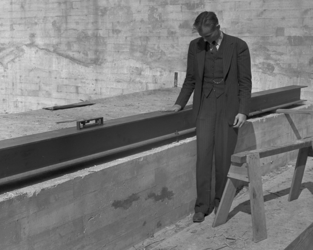 184-inch magnet rail, with Edwin McMillan, taken October 28, 1940. Principal Investigator/Project: Analog Conversion Project [Photographer: Donald Cooksey]