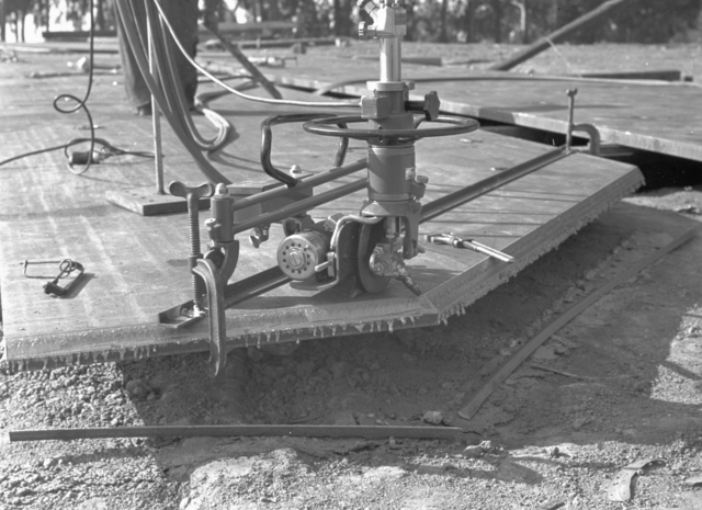 Cutting machine at the184-inch magnet site, taken November 25, 1940. Principal Investigator/Project: Analog Conversion Project [Photographer: Donald Cooksey]