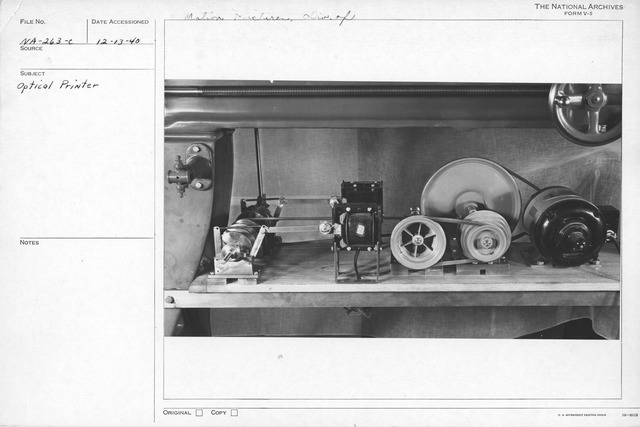 Photograph of Optical Printer, Division of Motion Picture