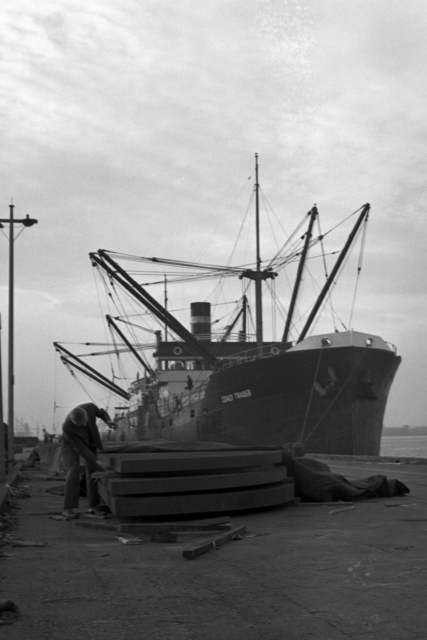 Donald Cooksey at the Encinal docks with half disks, taken January 17, 1941. Principal Investigator/Project: Analog Conversion Project [Photographer: Donald Cooksey]