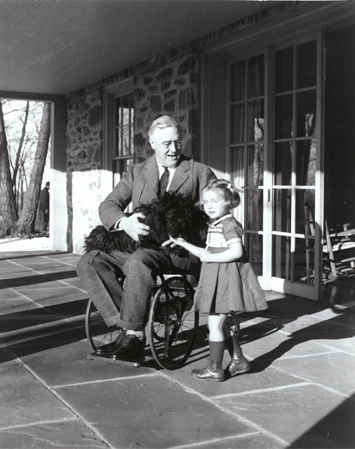 Franklin Delano Roosevelt in his Wheelchair with Fala and Ruthie Bie at Top Cottage, Hyde Park, New York