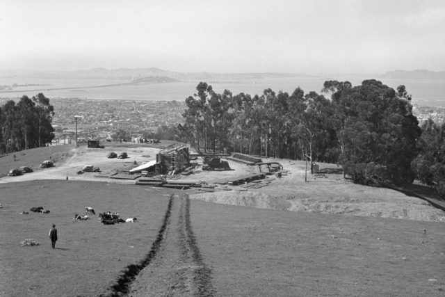 184-inch cyclotron construction, with view of San Francisco Bay and the Oakland-Bay Bridge. Taken March 24, 1941. Principal Investigator/Project: Analog Conversion Project [Photographer: Donald Cooksey]