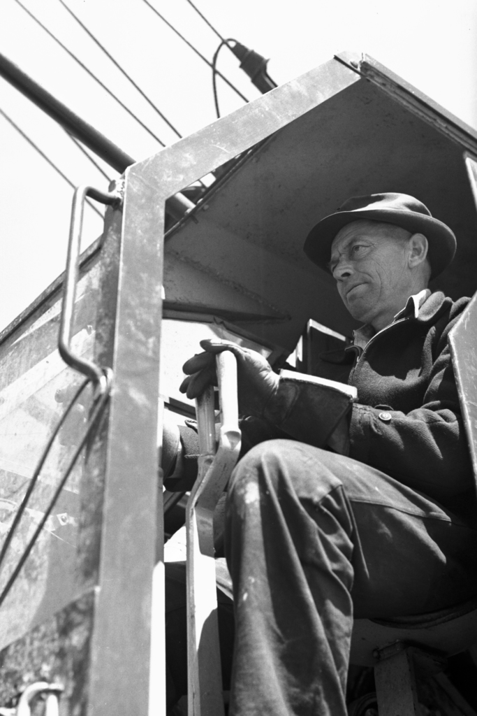 Crane operator at 184-inch cyclotron construction site, taken April 17, 1941. Principal Investigator/Project: Analog Conversion Project [Photographer: Donald Cooksey]